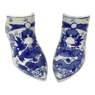 Vintage Chinese Porcelain Shoe Planters - A Pair