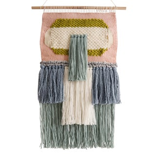 Handwoven Pink Blue & Green Wall Hanging