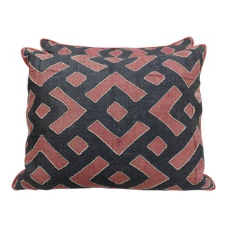 Rust & Black Kuba Cloth Pillows - A Pair