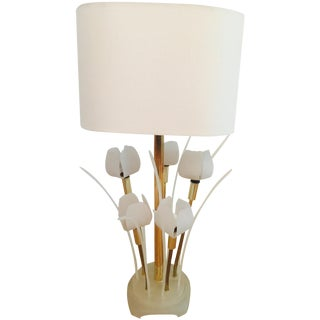 Vintage 1960s Tulip Lucite & Brass Table Lamp