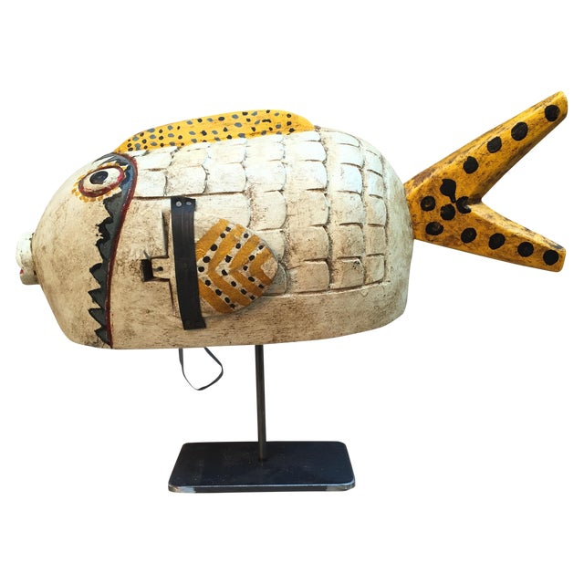Vintage Fish Puppet on Iron Stand - Image 1 of 6