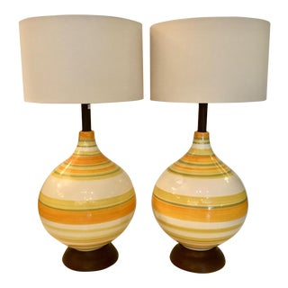 Striped Vintage Ceramic Table Lamps - A Pair