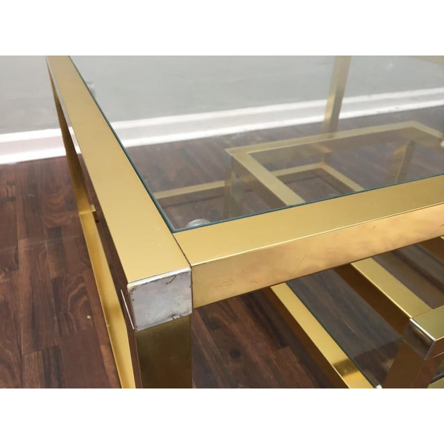 Cubist Brass Swivel Coffee Table with Wine Rack After Milo Baughman - Image 6 of 7