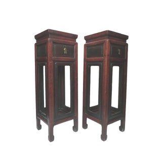 19th Century Asian Elmwood Pedestal Stands - A Pair