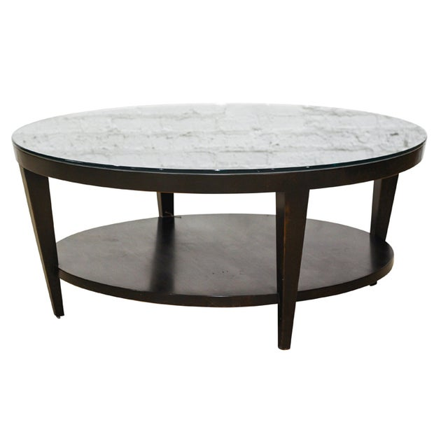 Round Dark Wood Coffee Table Chairish