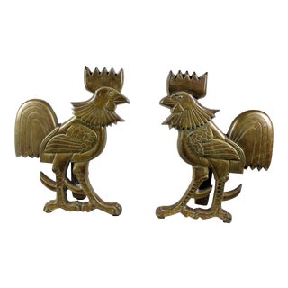 Vintage Solid Brass Rooster Andirons - A Pair