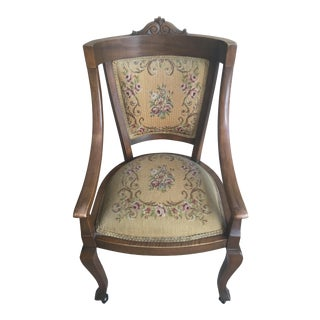 American Edwardian Mahogany & Upholstered Armchair
