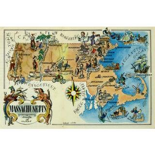 Vintage Massachusetts Pictorial Map, 1946
