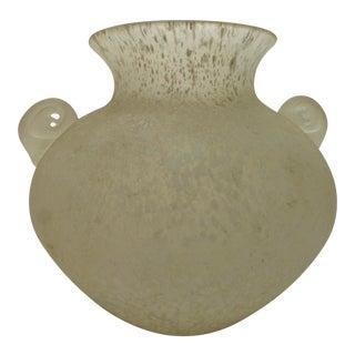 Mid-Century Scavo Murano Glass Handled Vase