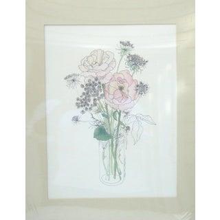 Vintage Mary Lou Goertzen Pink Floral Lithograph