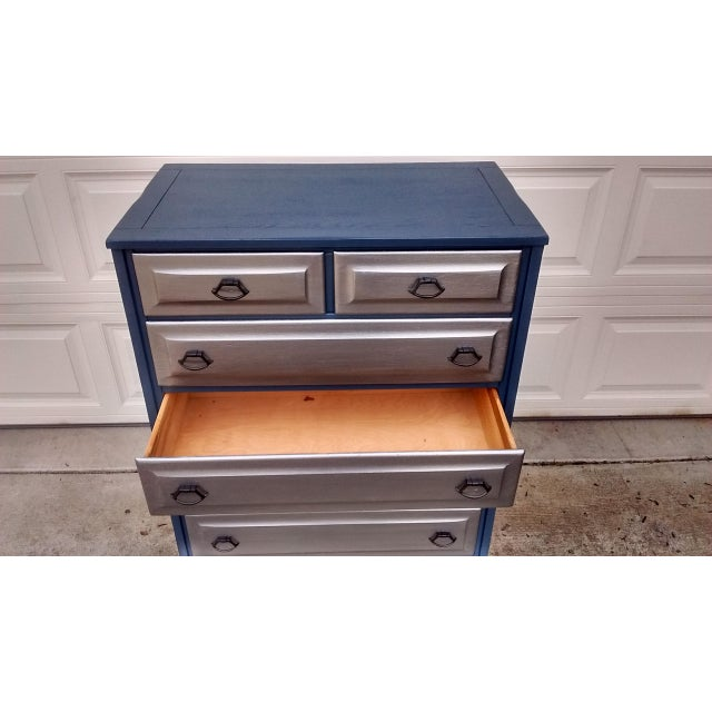 Mid-Century Blue & Metallic Solid Wood Dresser - Image 6 of 7