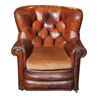 Tufted Leather Armchair with Original Leather