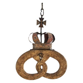 Gilt Tole and Wood Pretzel Sign Royal Warrant