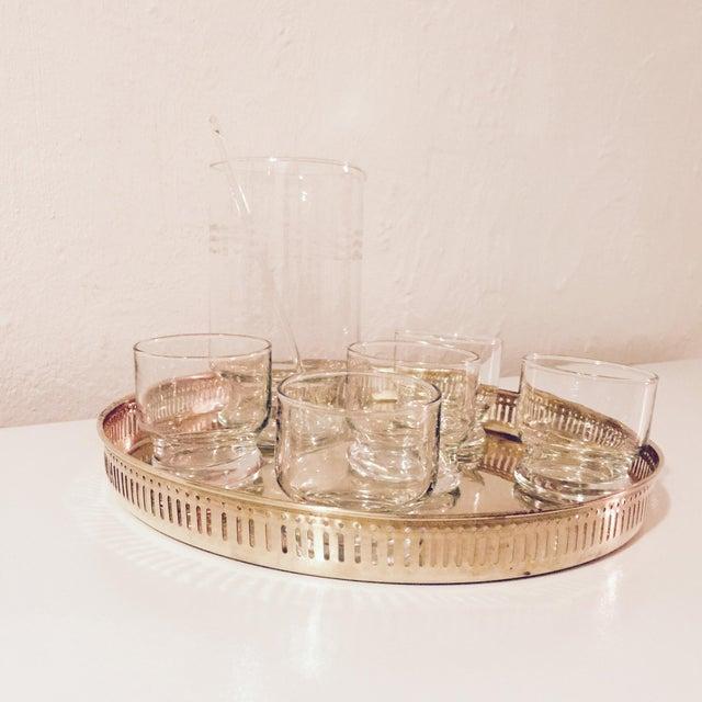 Image of Brass Tray & Glassware Set