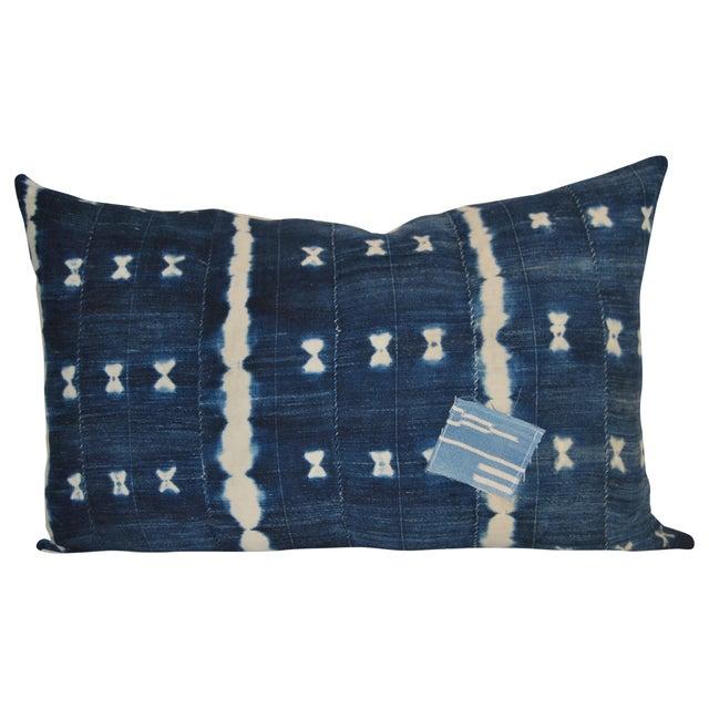 Vintage Alina Indigo Patchwork Lumbar Pillow - Image 1 of 2