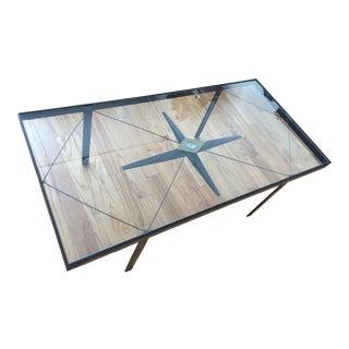 Glass Top Compass Coffee Table