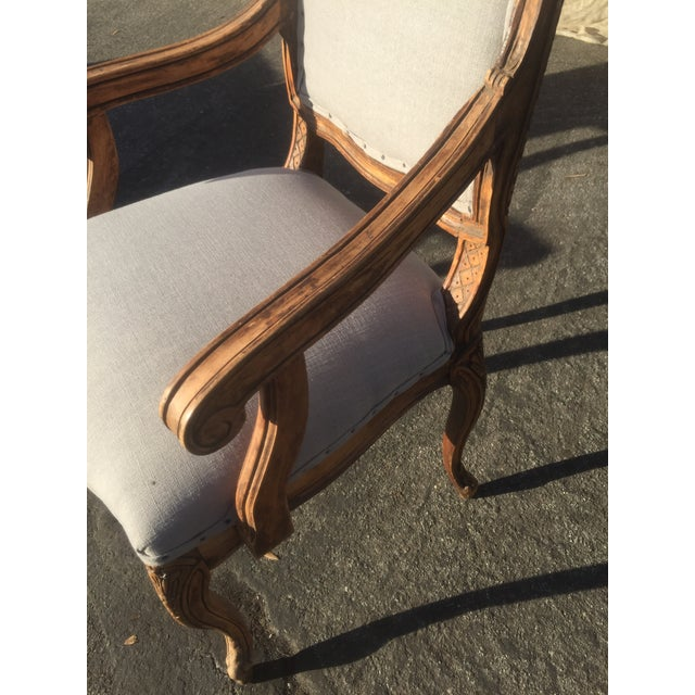 Distressed French Provincial Nailhead Trim Armchair - Image 3 of 5
