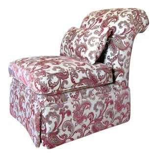 Contemporary Ivory & Red Paisley Print Slipper Chair