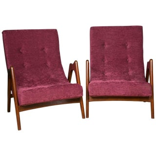 Upholstered Mid-Century Armchairs - Pair