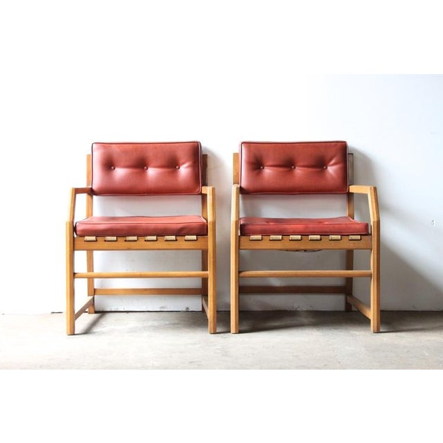 Image of Mid-Century Faux Leather & Oak Sitting Chair