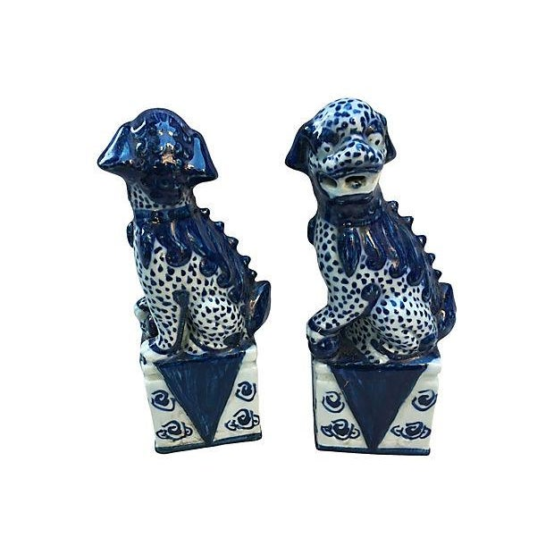 Chinese Blue & White Foo Dogs - Pair - Image 5 of 5