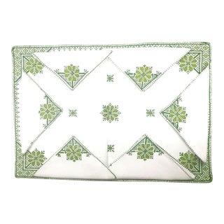 Fez Green Tray Needlepoint Linen & Napkins - Set of 7