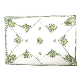 Fez Green Tray Needlepoint Linen & Napkins - Set of 7