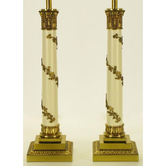Image of Pair Stiffel Neoclassical Brass & Ivory lacquered Table Lamps.