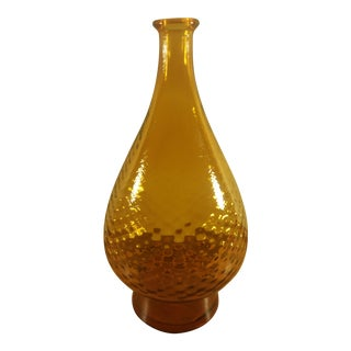Italian Tall Handblown Amber Glass Decanter