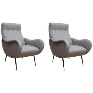 Marco Zanuso Style Armchairs - A Pair