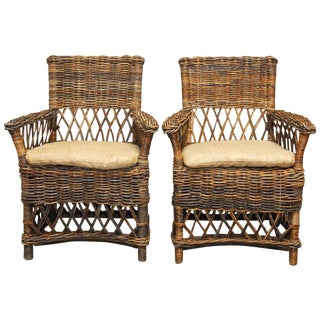 Bar Harbor Style Stick Wicker Armchairs - A Pair