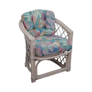 Ficks Reed Painted Rattan Barrel Back Arm Chair