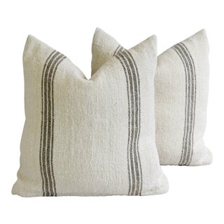 French Homespun Grain Sack Textile Feather/Down Pillows - Pair