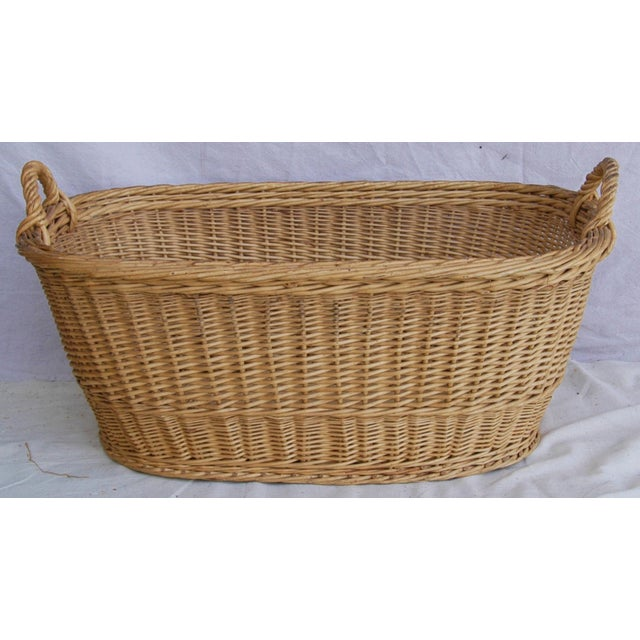 Vintage French Oval Wicker Market Basket - Image 10 of 10