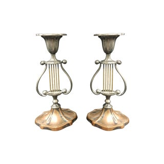 Tri Color Harp Candleholders - A Pair