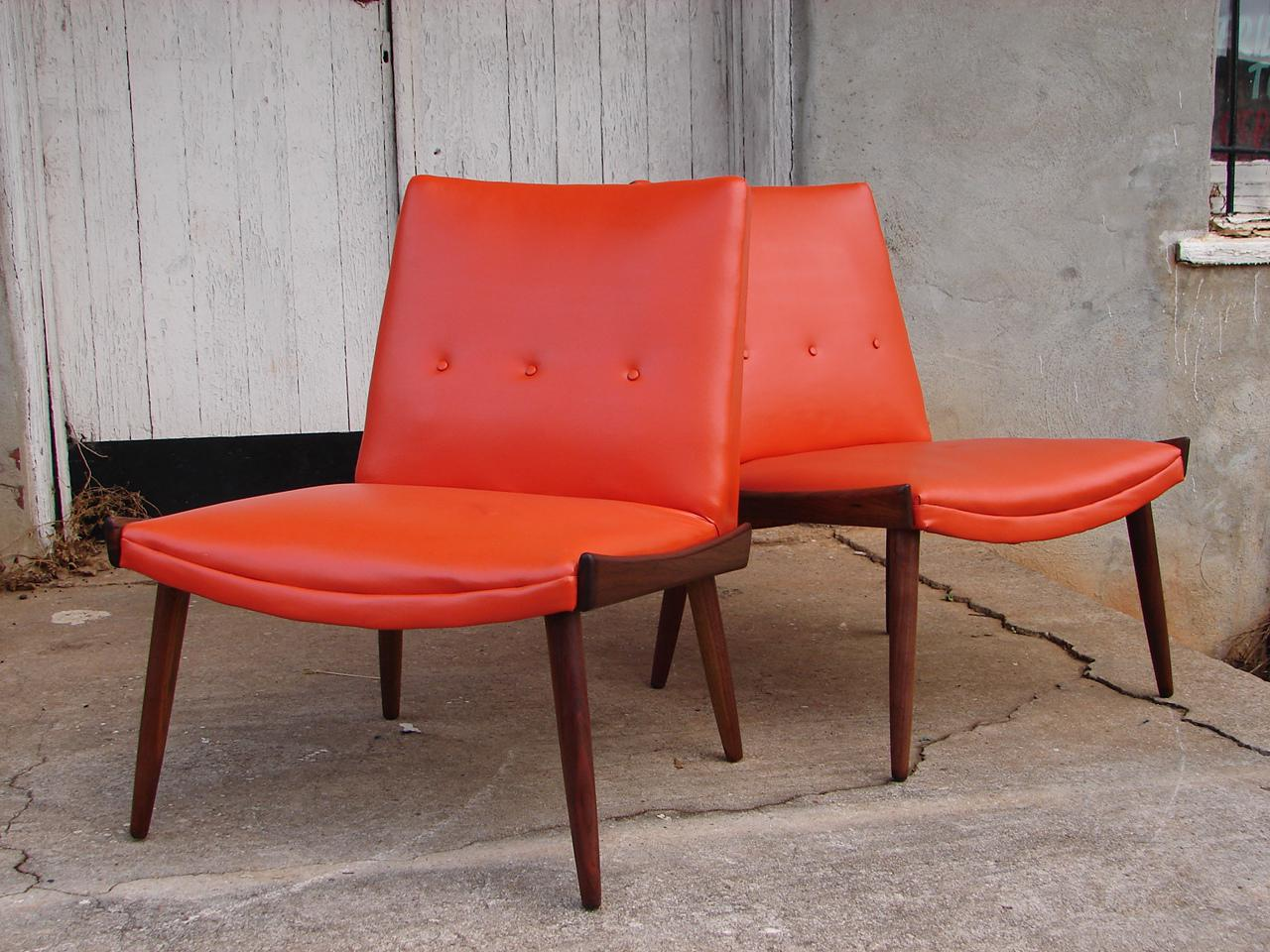 image of 1950s vintage kroehler danish mid century modern lounge slipper chairs pair - Kroehler Furniture