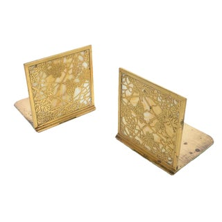 Tiffany Studio NY Gilt Bronze & Slag Bookends - 2