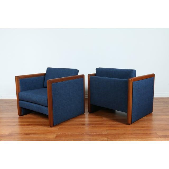 Navy Blue Mid-Century Club Chairs- A Pair - Image 3 of 10