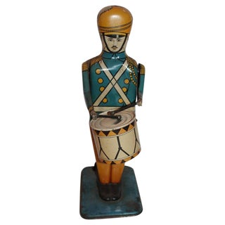 Pair of Original Painted Wind Up Tin Toy Drum Majors