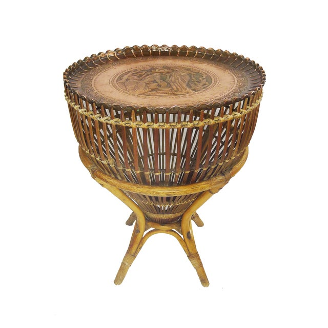 Vintage Bamboo Copper Tray Table - Image 1 of 6