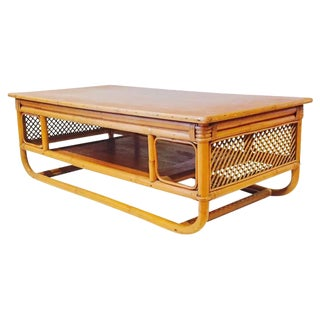 Vintage Bent Bamboo 2 Tiered Tiki Coffee Table