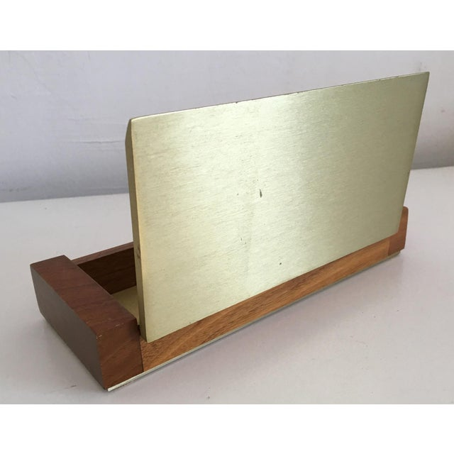 Mid-Century Modern Gold Aluminum and Wood Box - Image 5 of 11