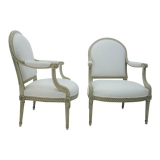 Louis XVI Style Painted French Armchairs - A Pair