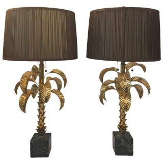 Gold-Plated Palm Tree Table Lamps by Jansen, Pair $6,800
