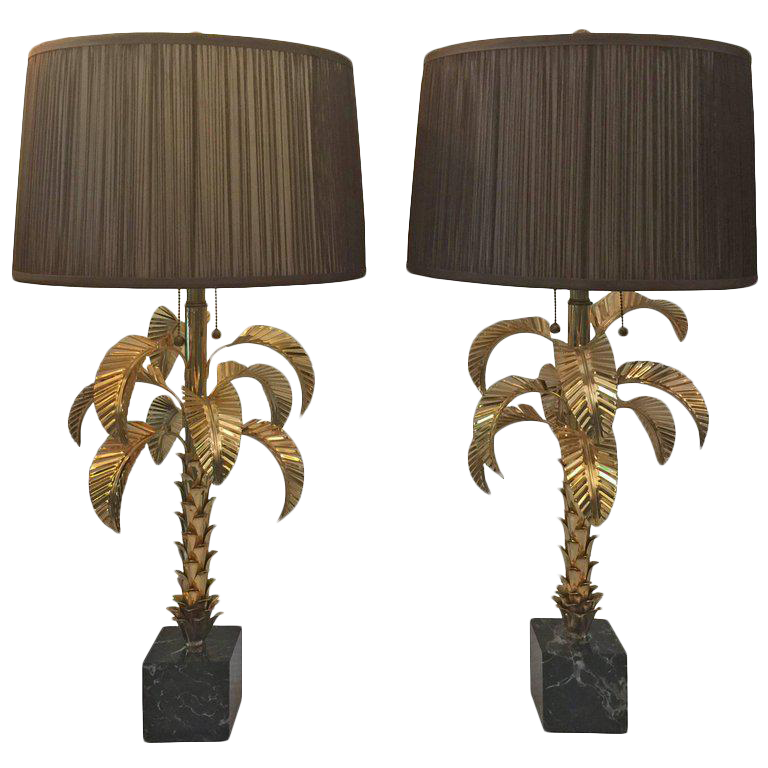 Gold Plated Palm Tree Table Lamps By Jansen, Pair $6,800   Image 1 Of
