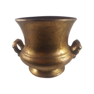 1960s Antique Gold Handled Pottery Urn