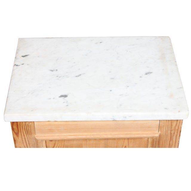 Image of Antique Swedish Pine Marble Top Cabinet