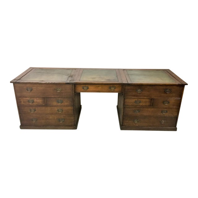 19th-C. English Oak Map Chest Desk - Image 1 of 9