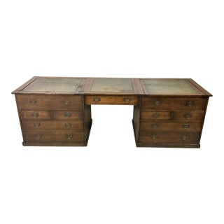 19th-C. English Oak Map Chest Desk