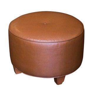 Round Leather Ottoman